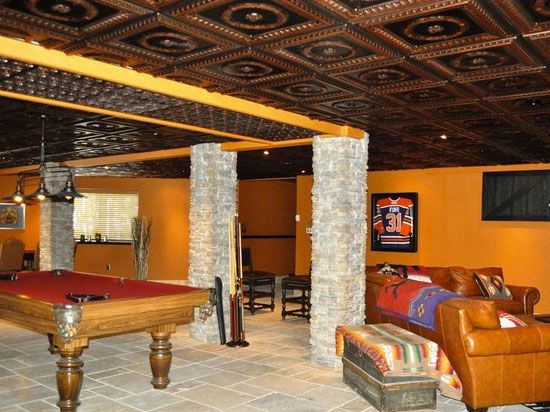 Color And Style Abound In This Lively Finished Basement Game Room! Http://