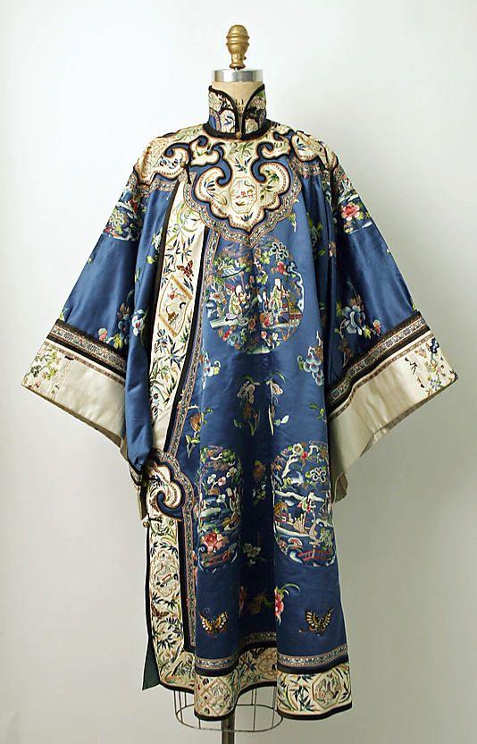 Late 19th century Chinese Women's Robe. // Medium: silk, metal