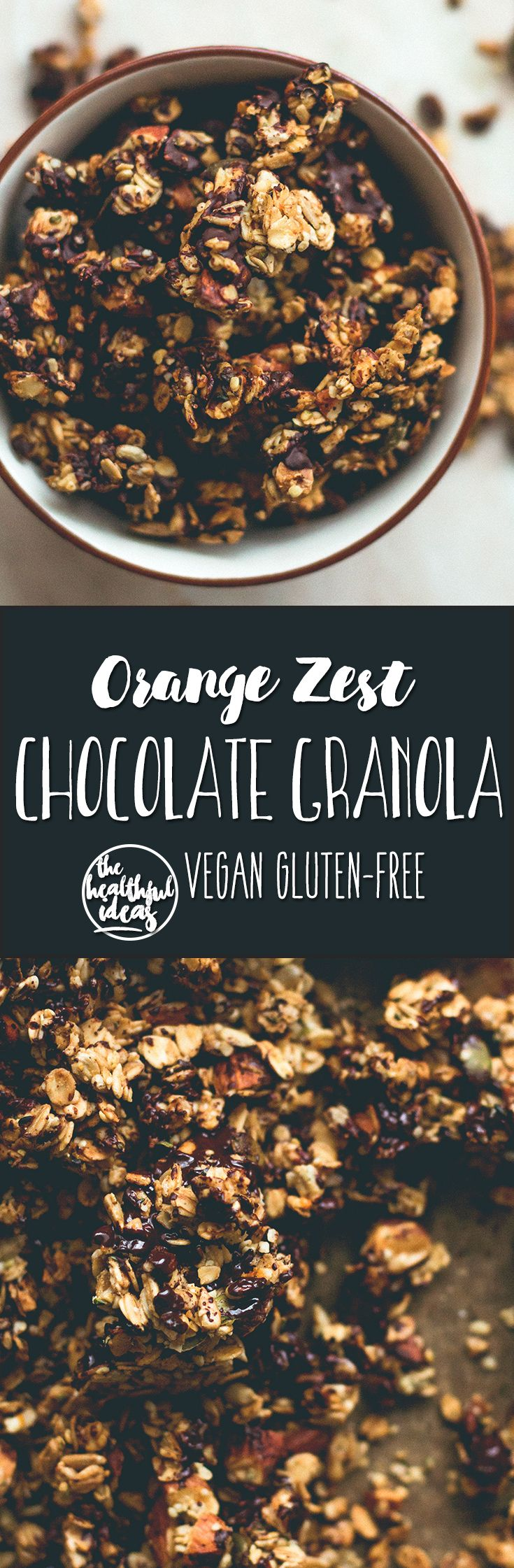 Orange Zest Granola with Dark Chocolate - delicious sweet zesty granola with melted cacao paste on top to create the best dark chocolate & orange flavor. Gluten-free, vegan, and sugar-free! You'll LOVE this granola!   thehealthfulideas.com