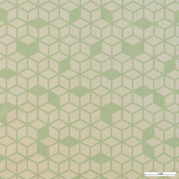 815878 Bomuld sand m støvet grøn kube mønster