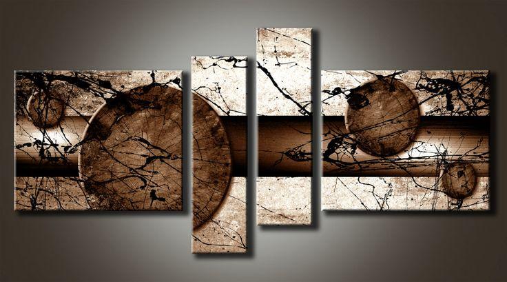 Al_MB_2 Cuadro Abstracto con  Salpicadura Tono Ocre