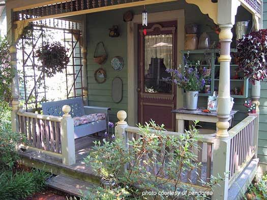 classic vintage front porch in spring