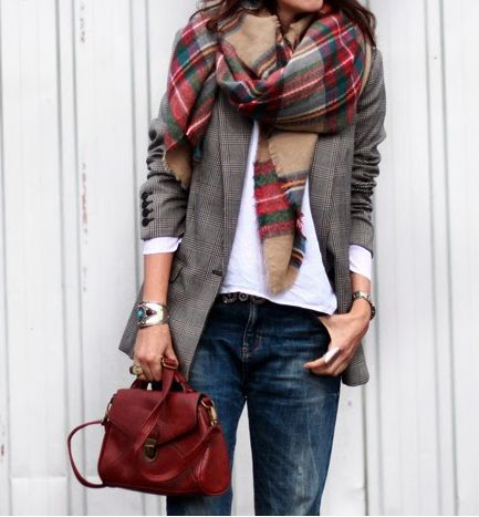 jeans, white tee, gray blazer, plaid scarf, oxblood handbag. Casual Friday