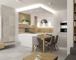 Mieszkanie 70m2 Ursynów - Mała otwarta kuchnia w kształcie litery g w aneksie z wyspą, styl nowoczesny - zdjęcie od Grafika i Projekt architektura wnętrz