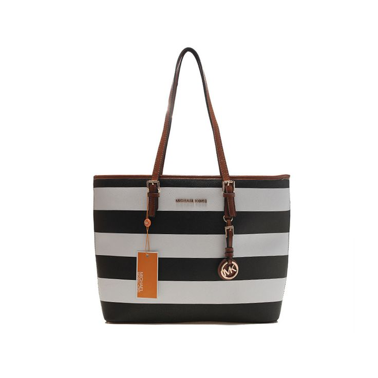 MICHAEL Michael Kors Medium Jet Set Striped Travel Tote Citrus-white