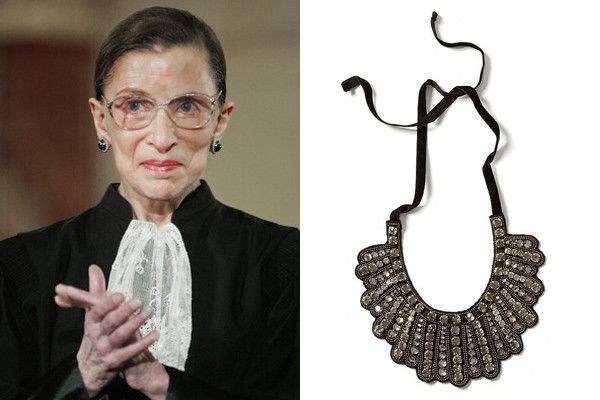 """Supreme Court Justice Ruth Bader Ginsburg swaps her trademark lace collar for a sparkly Banana Republic necklace. The original """"dissent"""" necklace"""