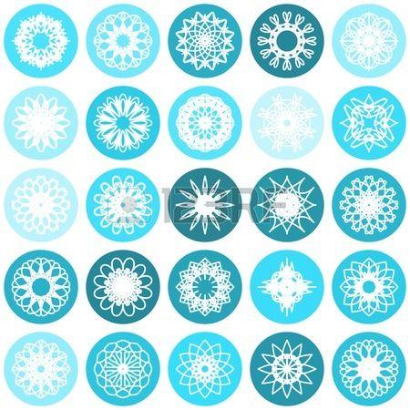 Color round east ornament set. Vector symbols