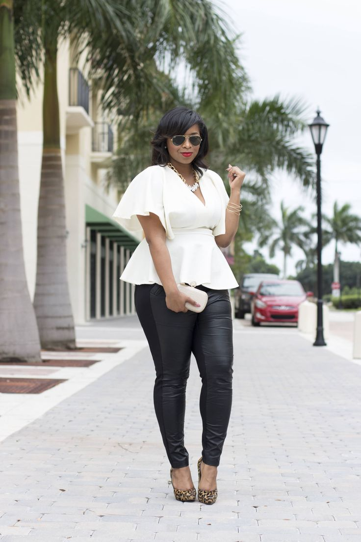 Simply Carmen Renee in our white, Darling Batwing Top and faux-leather pants. Plus Size Fashion, Plus Size Peplum Top, Plus Size Outfit, Outfit Inspiration, Outfit Ideas, Style, Fashion, PS Blogger,