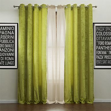 (One Pair) Modern Life in the Green Energy Saving Curtain with Sheer Set – USD $ 119.99