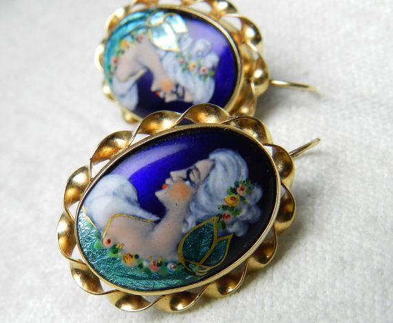 14K French Enamel Portrait Earrings France by LoveAlwaysGalicia
