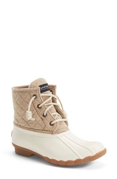 White and cream snow boots from sperry