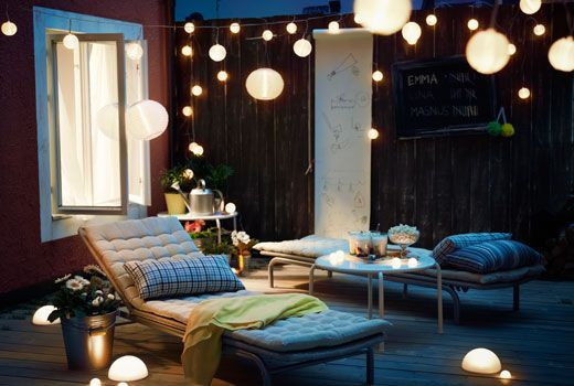 An outdoor Solar powered light chain like the IKEA Solvinden can transform your dark balcony to an atmospheric haven in the evenings. No need for electrical leads, nature takes care of it all.