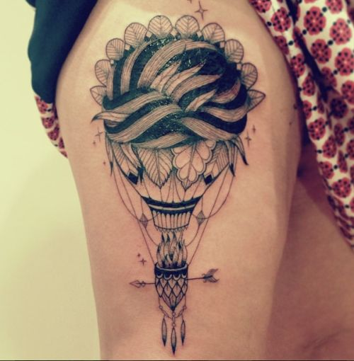 hot air balloon tattoo with feathers black and gray design