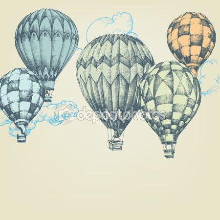 Sıcak hava balonları gökyüzü arka planda — Stok İllüstrasyon #77853458