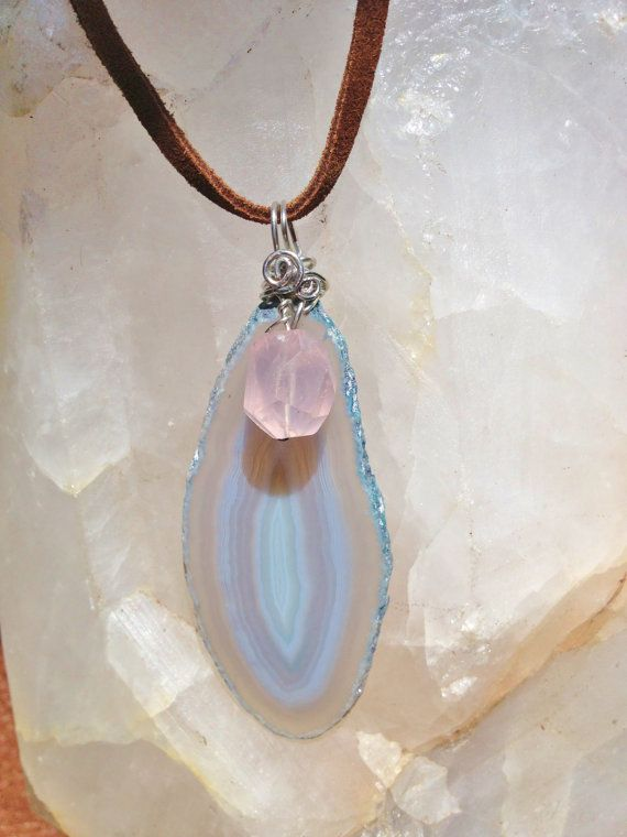 Pale Blue Brazilian Agate Slice Necklace with Faceted by IndioAzul, $40.00