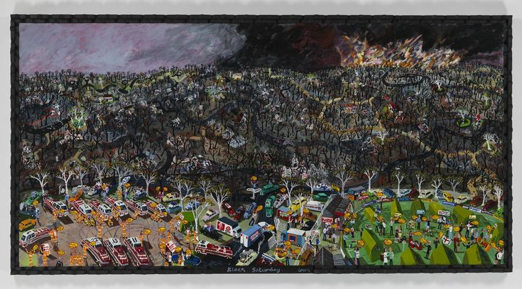 """The 'Black Saturday' painting by Glenn Morgan was created after the devastation of Marysville on Black Saturday, 7 February 2009. He had visited Marysville just three weeks prior to 7 February 2009, and had remarked """"Jeez, I'd hate to be here if a fire came through"""". This is a powerful response to the Black Saturday bushfires. It is a strong and dynamic document of the immediate aftermath of ..."""