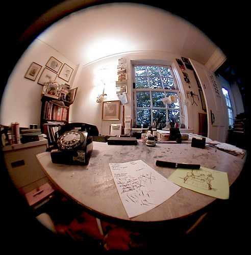 Christopher Seufert's photograph of Edward Gorey's desk (the week of his death on April 15, 2000).