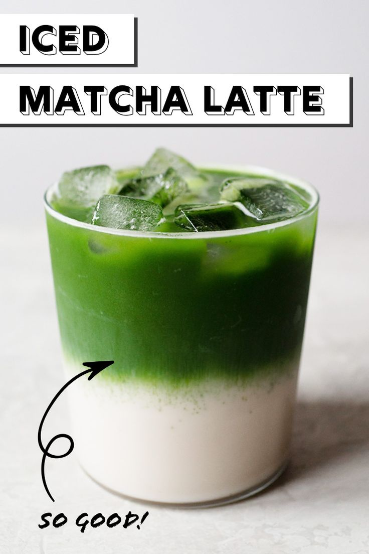 Make your own layered iced matcha latte! matchalatte