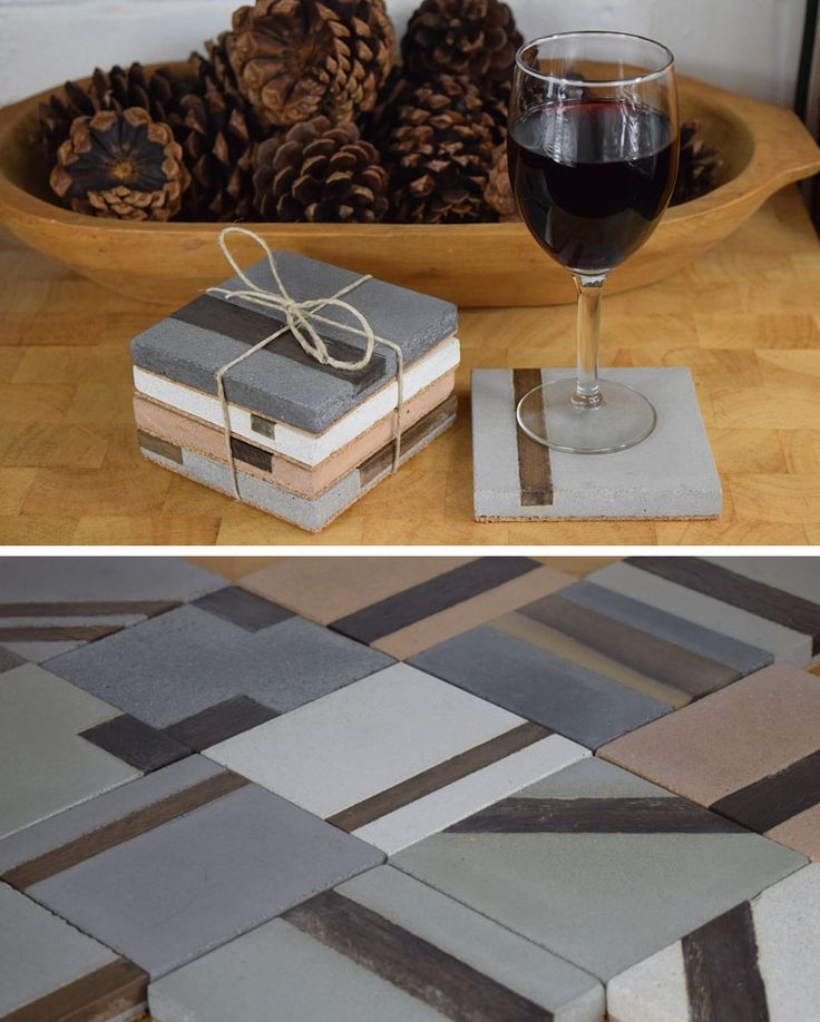 These modern square concrete coasters have strips …