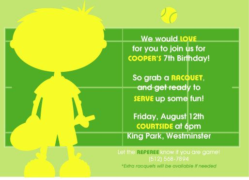 14 best Tennis Birthday Party images on Pinterest Tennis party - invitation wording for candle party