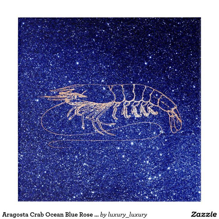 Aragosta Crab Ocean Blue Rose Gold Blush Navy Acrylic Wall Art