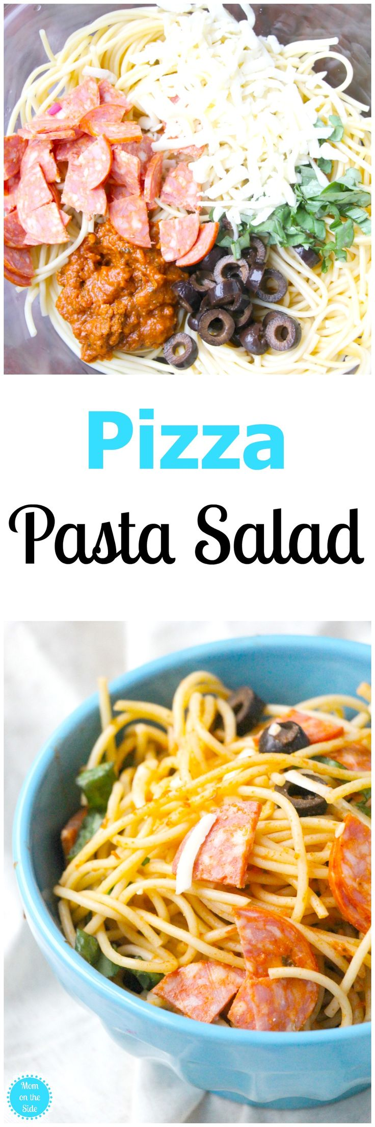 Serve this Pizza Pasta Salad cold or hot at your next picnic or bbq! Six simple ingredients for a deliciously easy pasta salad you'll want more of! via @momontheside