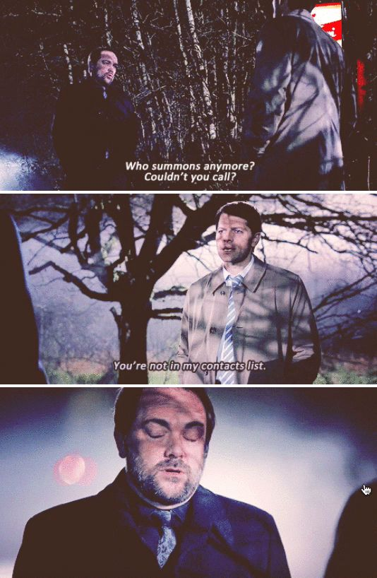 """Supernatural    This was especially funny to me because at the start of the scene I was thinking, """"Is he really SUMMONING Crowley?"""""""