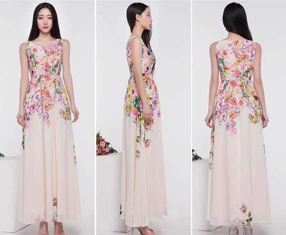 White pink yellow floral print a line maxi dress full for Print maxi dress for wedding