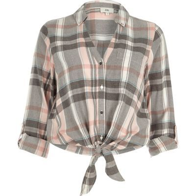 Womens Pink check tie knot front shirt