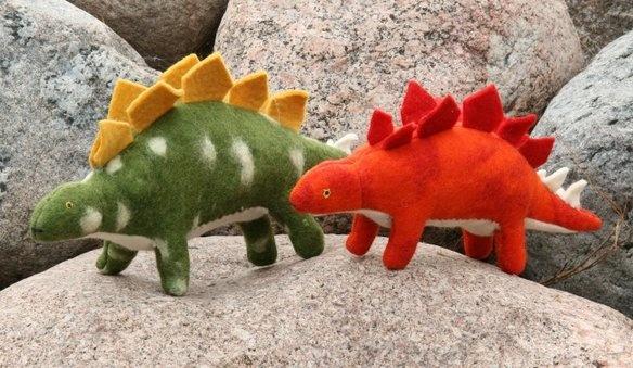 Needle-felted Stegosauri