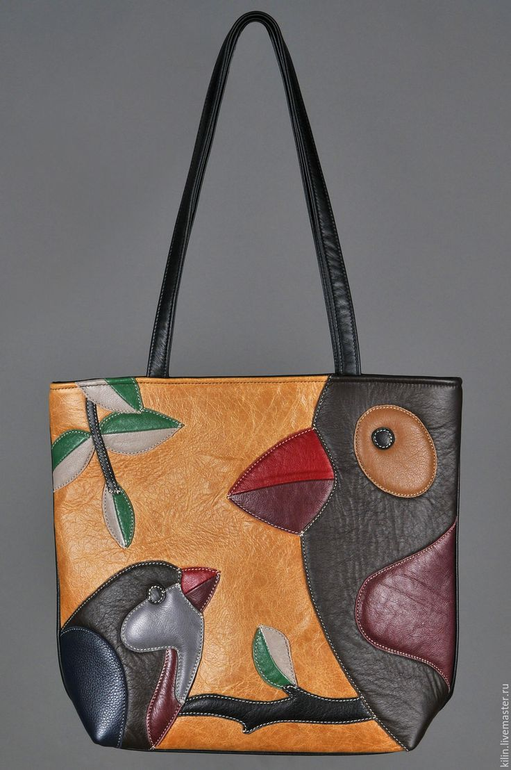 Купить Кожаная сумка ПТИЦЫ - разноцветный, рисунок, кожа, птицы, Аппликация, кожа натуральная