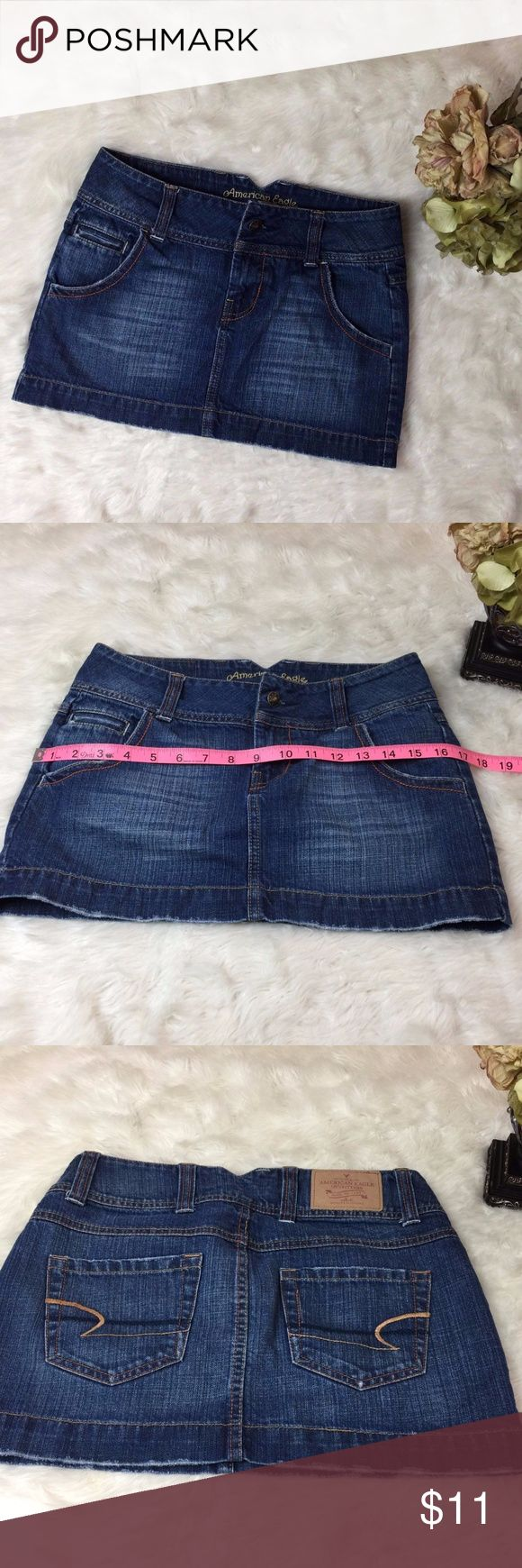 AMERICAN EAGLE Skirt Women size 0 Short Mini AMERICAN EAGLE Short Mini Skirt Distressed Denim Jean Womens Very Cute Blue great condition no noted flaws. come from a smoke free home Measurements: Are seen in pictures. American Eagle Skirts Mini