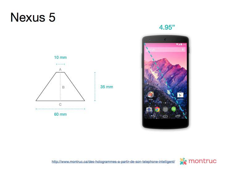 Mesures pour construire un projecteur d'hologramme 3D avec un boîtier de CD sur Nexus 5 A= 10mm | B= 35mm | C= 60mm