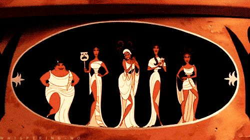 We are the Muses goddesses of the arts and proclaimers of heroes. Heroes like Hercules... Honey you mean HUNKules...