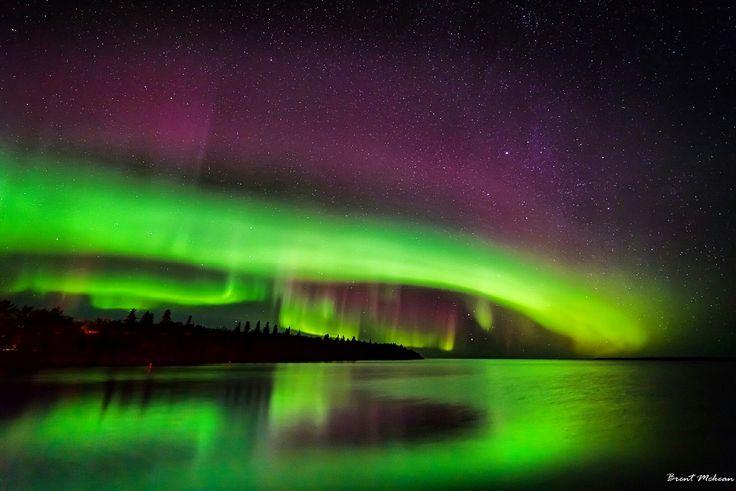 Northern lights over Lake Winnipeg, Manitoba,Canada