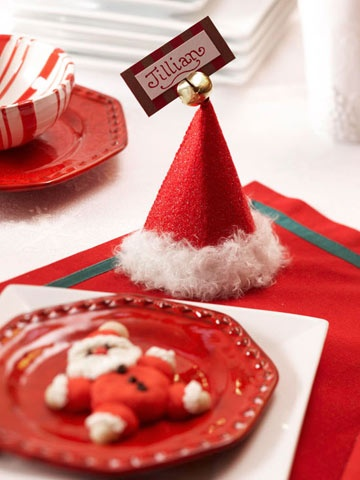 Santa Hat Place Cards for Christmas
