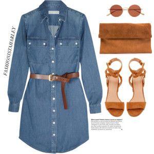 Denim dress + brown accessories //