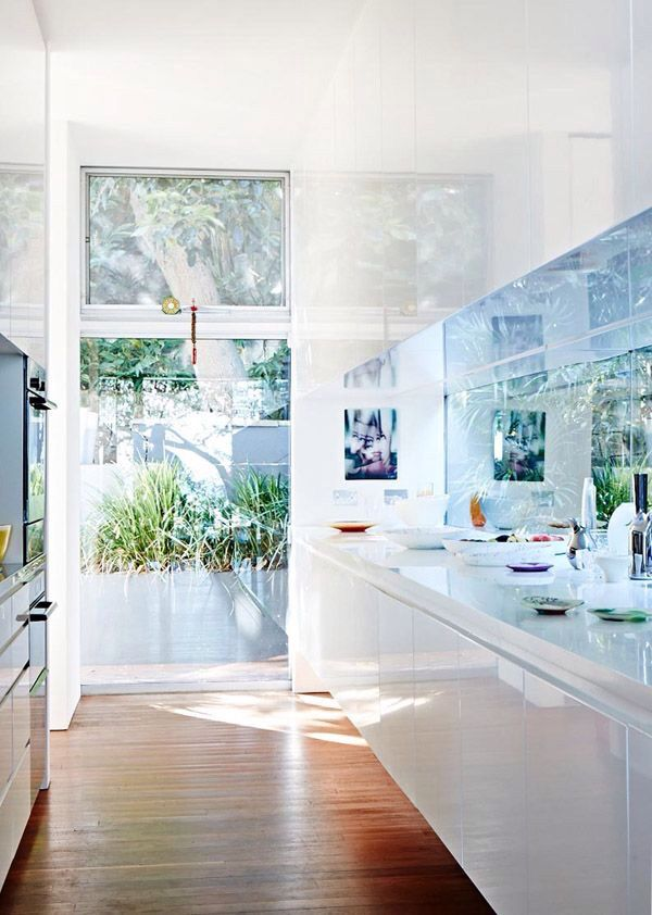 Creating the feeling of a open floor plan kitchen with panoramic garden view