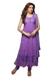 Designer purple net & Brasso Anarkali Suit Rs.699 on http://www.vendorvilla.com/