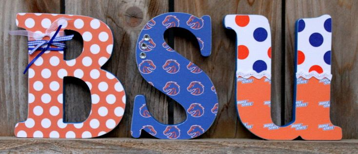 Cute...BSU BOISE STATE Wood Letters. $18.00, via Etsy.