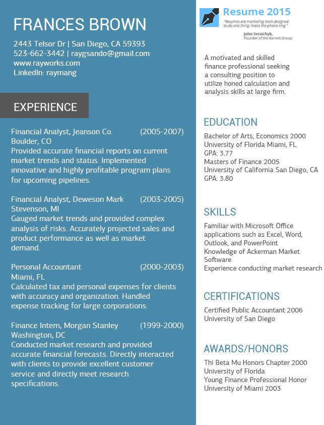 19 best Resume 2015 images on Pinterest Sample resume, Best - resume templates for accountants