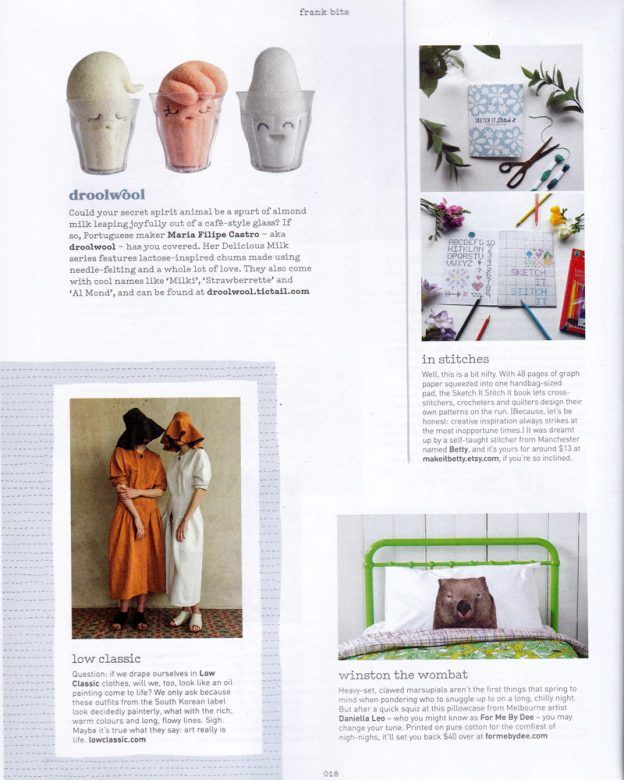 Winston the Wombat Pillowcase Featured in Frankie Magazine