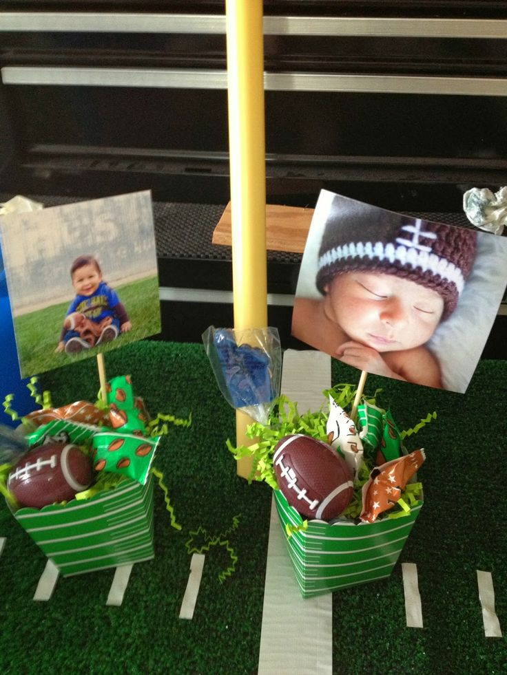 Football party centerpieces. EZRA IS #1- football party