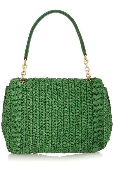 Dolce & Gabbana | Dolce medium embellished raffia and leather shoulder bag | NET-A-PORTER.COM
