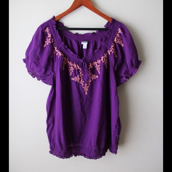 """Old Navy smock top Purple smock style top - soft elastic sleeve ends and hemline - embroidered design detail - cotton - chest across measures 23"""" - total length measures 26"""" - size XL Old Navy Tops"""