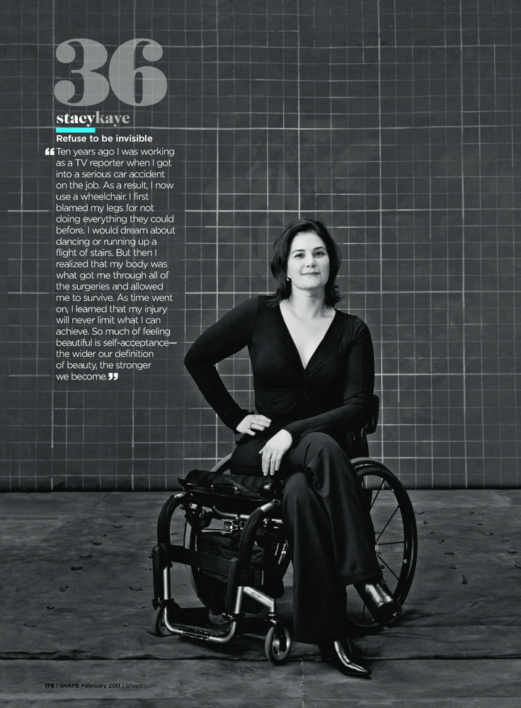 """Shape magazine named wheelchair user Stacy Kaye one of their Self-Esteem Role Models. """"Refuse to be invisible,"""" she says."""