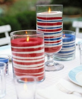 Red, White Sand Center pieces for canada day