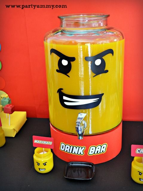 Lego Birthday Party drinks! See more party ideas at CatchMyParty.com!