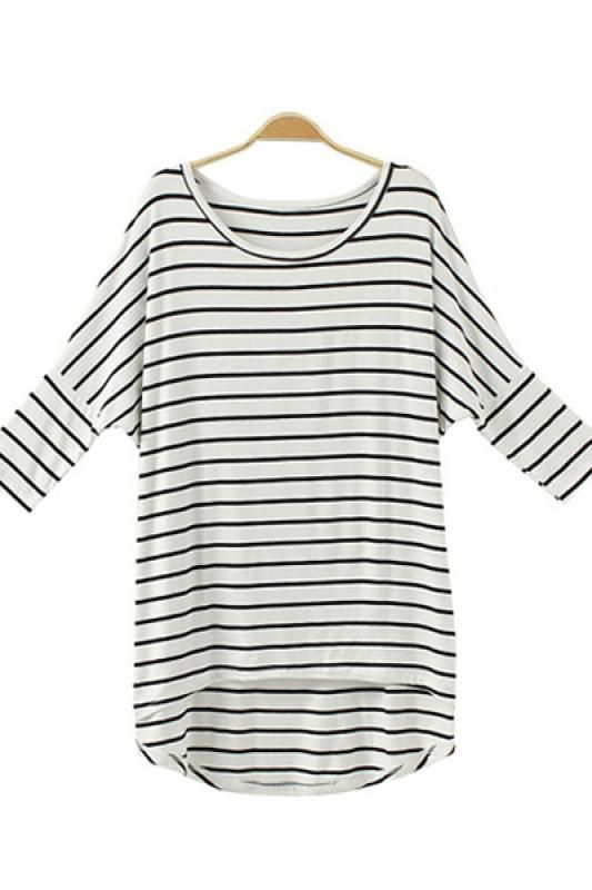 Striped High Low Tee