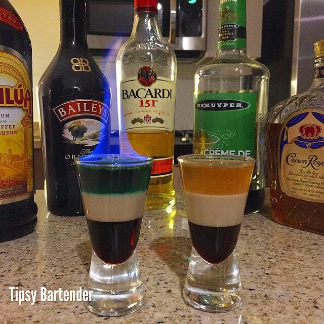 Star Wars Shot Han Solo Shot: 1/2 oz. (15ml) Kahlua coffee liqueur 1/2 oz (15ml) Bailey's 1/2 oz (15ml) Crown Royal  Greedo Shot: 1/2 oz. (15ml) Kahlua coffee liqueur 1/2 oz (15ml) Bailey's Mix 1 oz (30ml) Green Creme de Menthe and Bacardi 151 in a measuring glass, then layer on top. Light the mixture to signify Greedo getting shot by the blaster!!